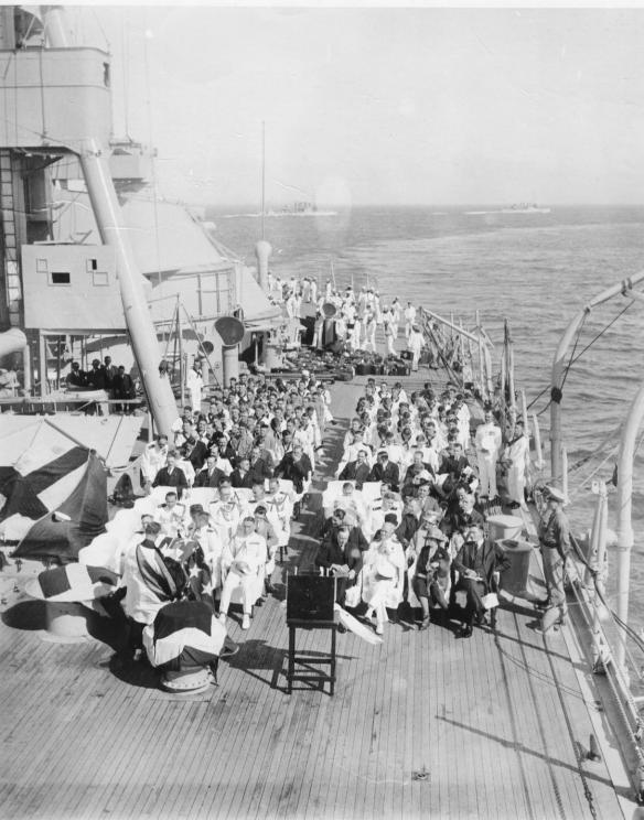 President Coolidge attending a chirch service aboard the U.S.S. Texas